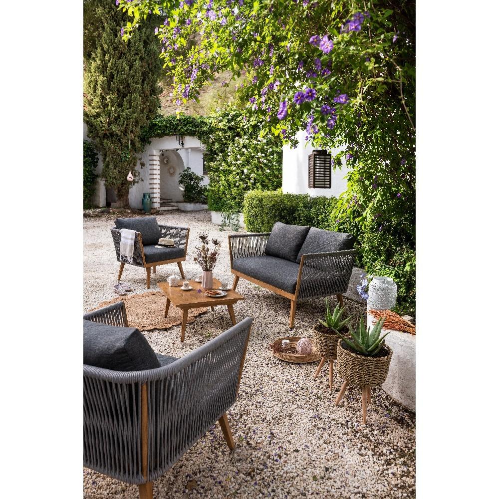 Salon De Jardin Gris Et Naturel Azur 4 Personnes - Salon concernant Salon De Jardin Jade
