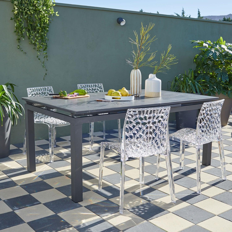 Salon De Jardin Miami Stone Aluminium Gris Anthracite, 4 destiné Salon De Jardin Solde Leroy Merlin