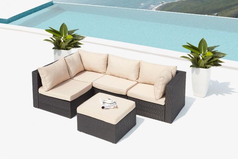 Salon De Jardin Modulable Beige En Résine Tressée 5 Places avec Salon De Jardin Modulable Jade