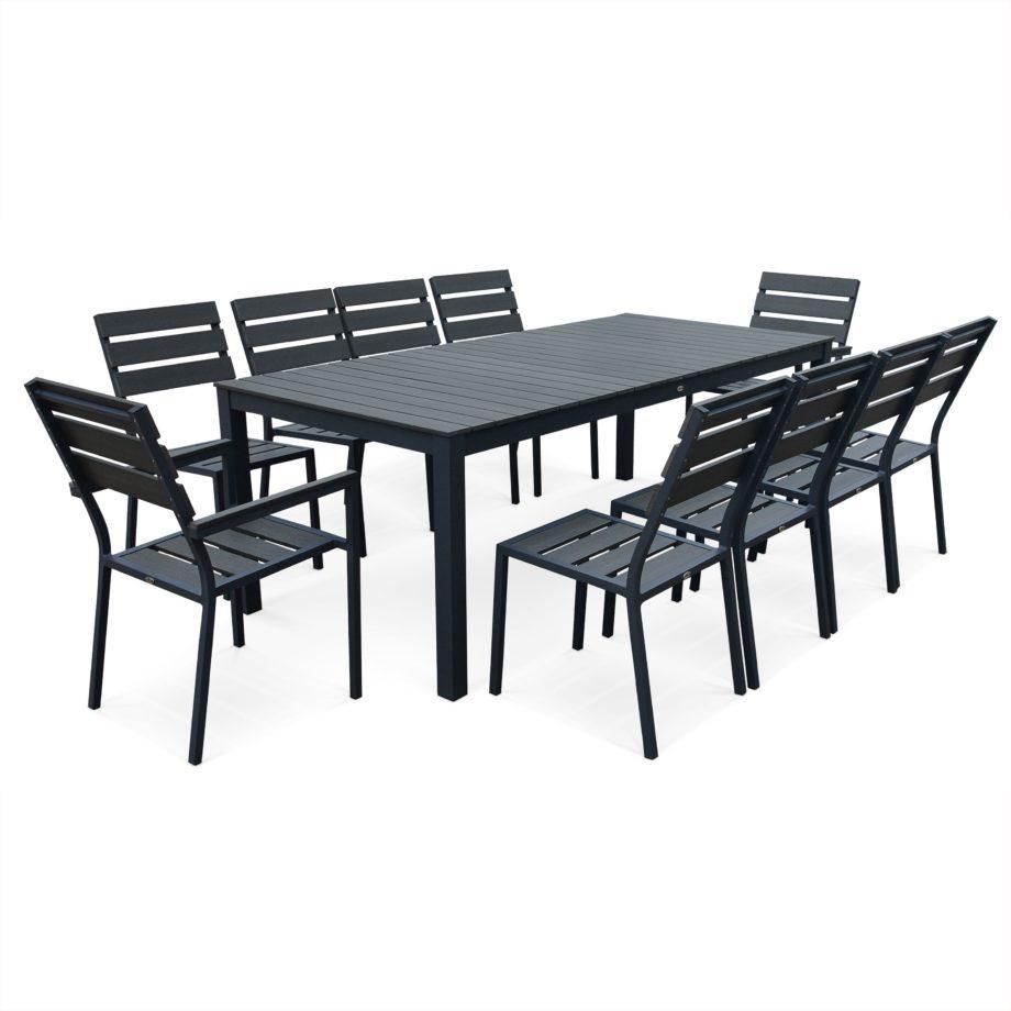 Salon De Jardin Places En Aluminium Et Galerie Avec Table à Table Jardin 10 Personnes