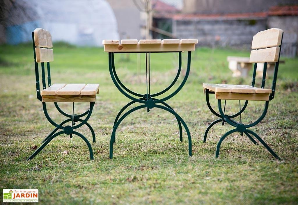 Salon De Jardin Pliable En Bois 6 Personnes 180Cm Forte avec Salon Jardin Pliable