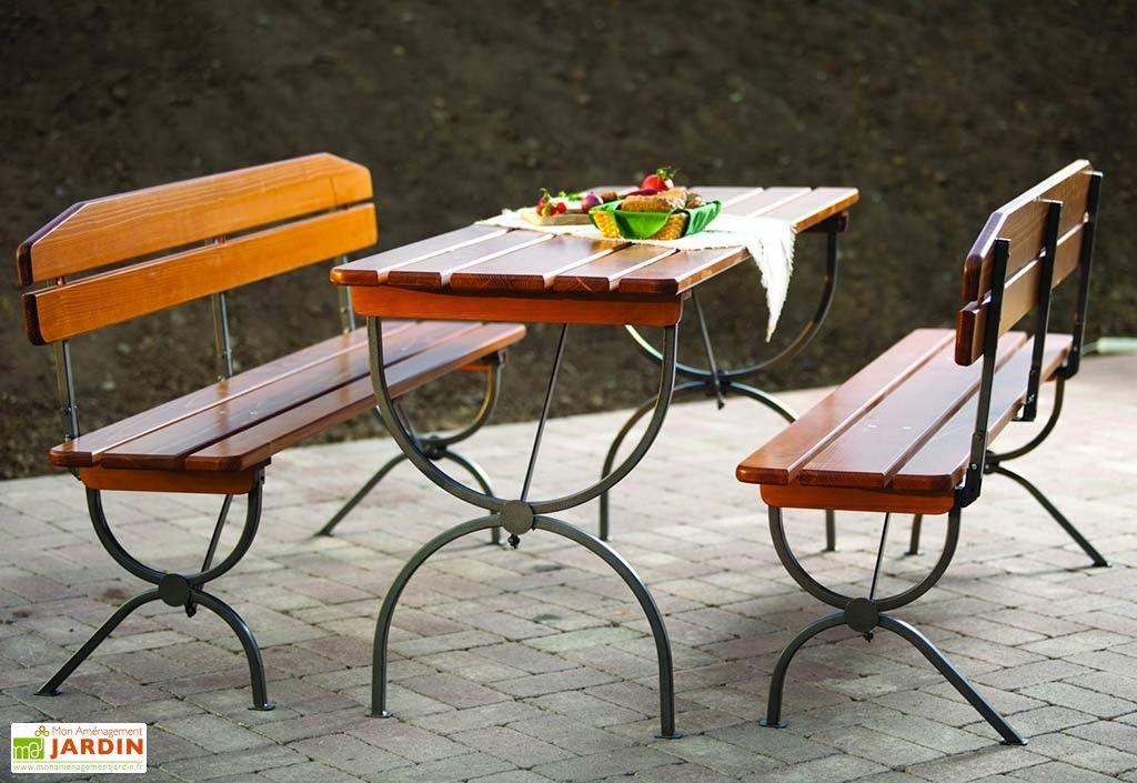Salon De Jardin Pliable En Bois 6 Personnes 180Cm Forte encequiconcerne Salon Jardin Pliable