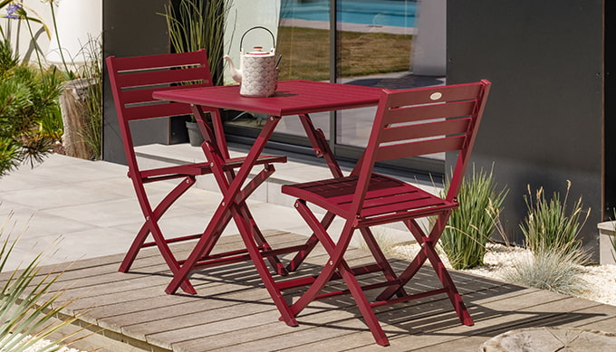 Salon De Jardin Pliant 2 Places En Aluminium pour Salon De Jardin Pliant
