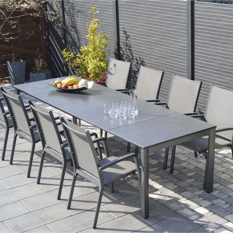 Salon De Jardin Puroplan Aluminium Gris Anthracite, 10 concernant Solde Salon De Jardin Leroy Merlin