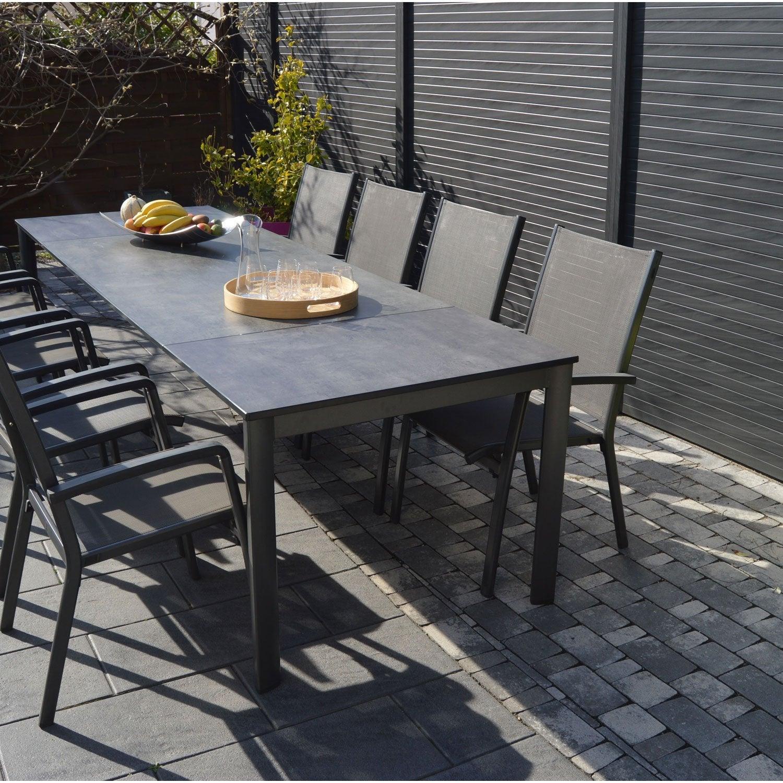 Salon De Jardin Puroplan Aluminium Gris Anthracite, 10 serapportantà Solde Salon De Jardin Leroy Merlin