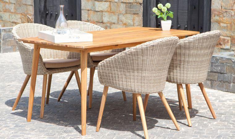 Salon De Jardin Rétro En Bois Et Rotin : 1 Table + 4 pour Table Jardin 4 Personnes