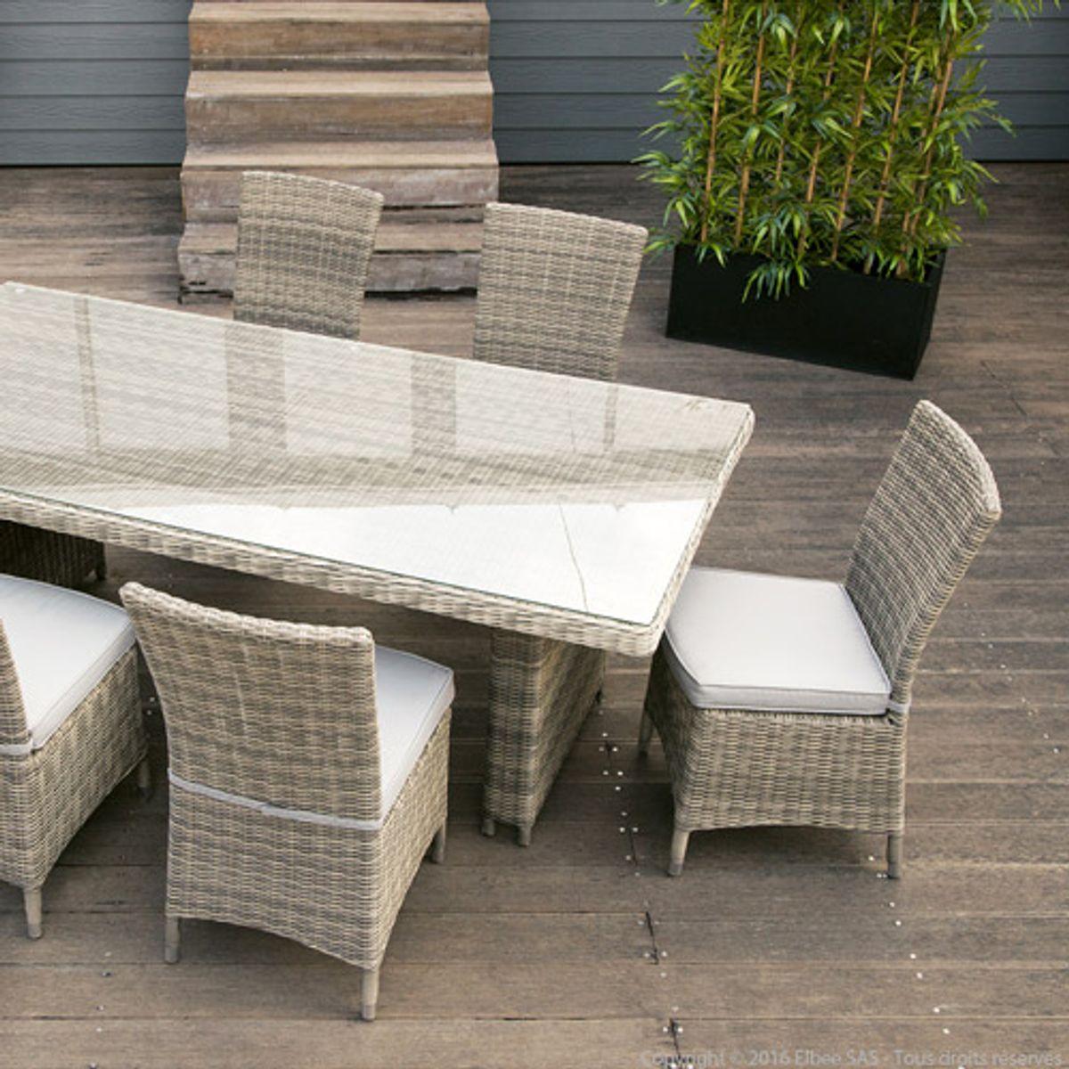 Salon De Jardin Table Et 6 Chaises En Résine Tréssée intérieur Table Et Chaise De Jardin En Resine