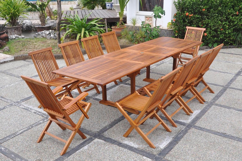 Salon De Jardin Teck Huilé 10 Places Rectangle 8 Chaises encequiconcerne Table De Jardin En Bois Avec Chaises