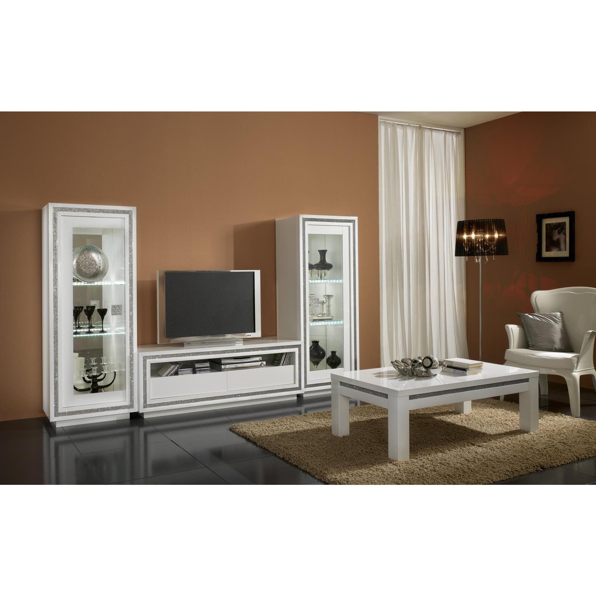 Salon- Meuble Tv Blanc Laque Avec Strass - Comforium avec Meuble Télé Blanc Laqué