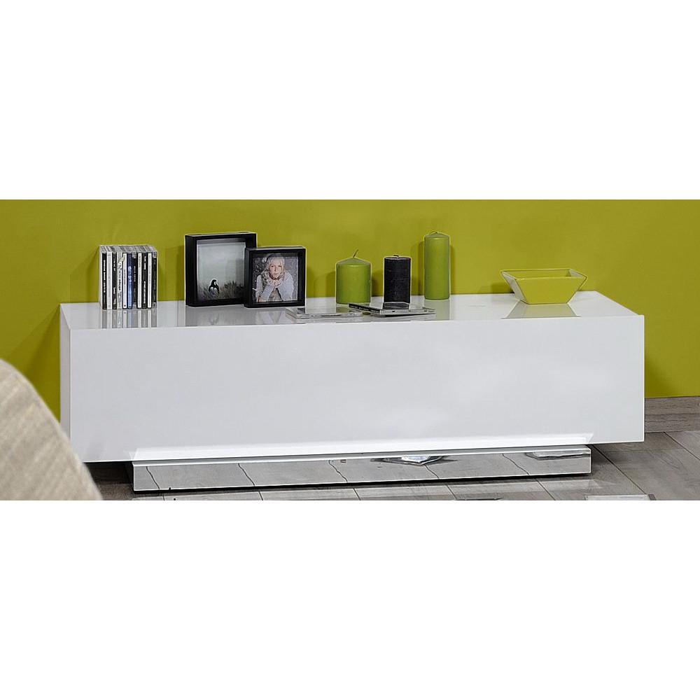 Salon - Meuble Tv Blanc Laque Design - Comforium pour Meuble Tv Blanc Laqué Pas Cher