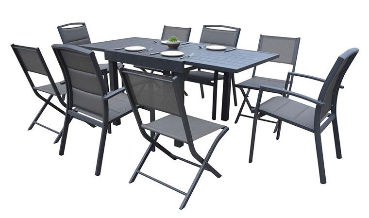 Salon Repas De Jardin 8 Places : Table Extensible + 8 avec Salon De Jardin Aluminium 8 Places