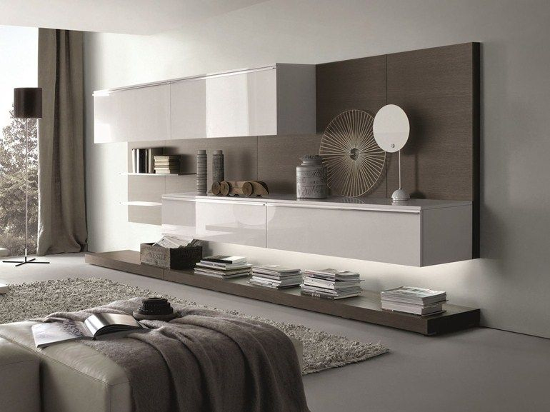 Sectional Wall-Mounted Lacquered Wooden Storage Wall Tao destiné Meuble Braun