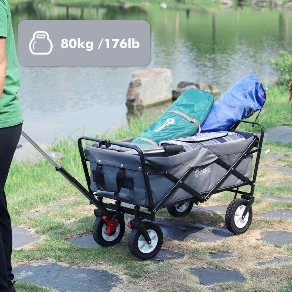 Sekey - Chariot De Jardin Pliable Avec Freins | Charrette à Charrette De Jardin