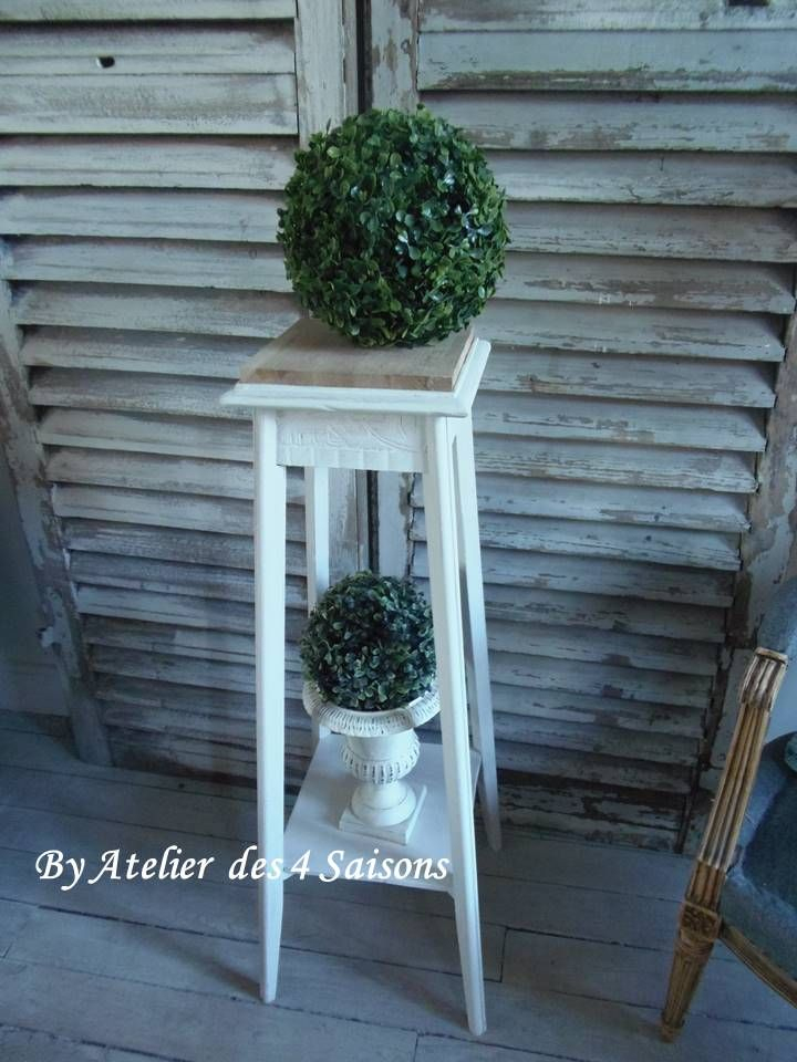 #Sellette Des Années 30 #Patinée Gris Perle Blanc Poudré avec Sellette Meuble