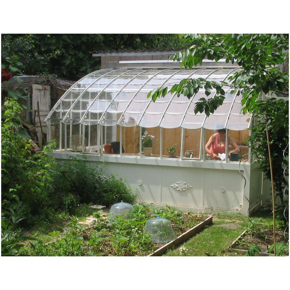Serre Adossée Chambord En Verre Trempé 10.64 M² Gris serapportantà Serre De Jardin Adossée