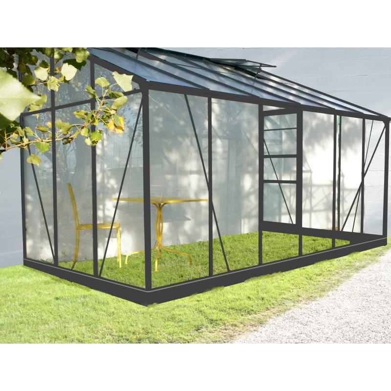 Serre De Jardin Adossée Grise Verre Trempé 7,22M² + Embase concernant Serre De Jardin Adossée