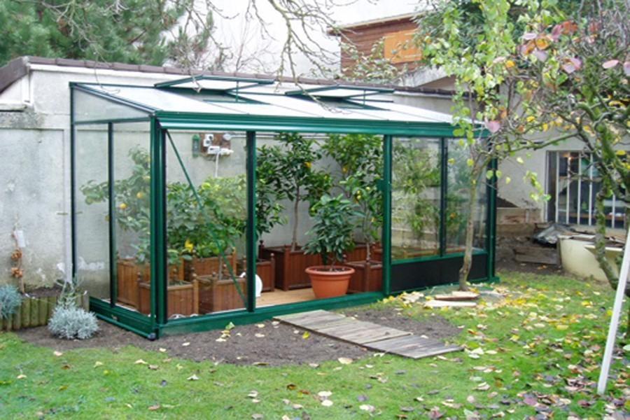 Serre De Jardin Adossée - Serre Terrasse En Verre - Crysland encequiconcerne Serre De Jardin Jardiland
