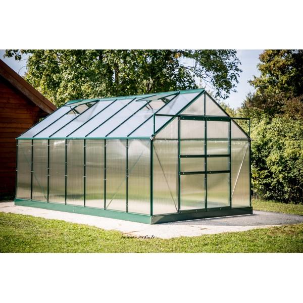 Serre De Jardin En Polycarbonate, Aluminium Vert, 10,37M² destiné Serre De Jardin Adossée