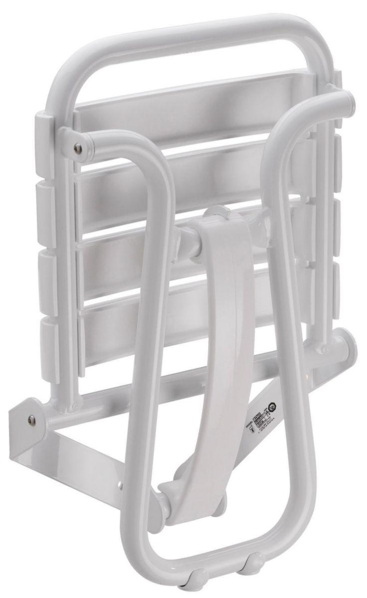 Siège De Douche Escamotable 38 X 35,5 Cm Blanc Avec Béquille Automatique  Réf. 047630 pour Siège De Douche Escamotable