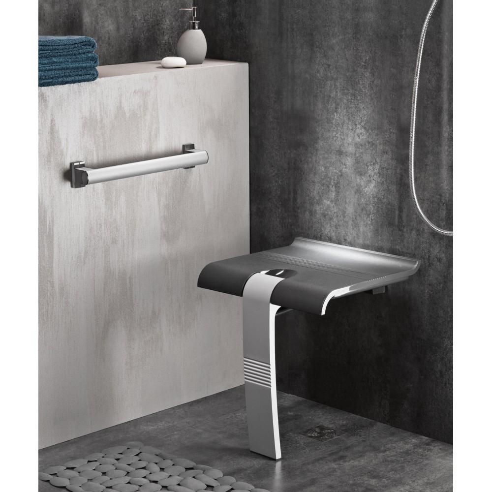 Siège De Douche Godonnier Design 15 Escamotable Et Amovible Avec Pied  Piètement Aluminium Époxy Gris destiné Siège De Douche Escamotable