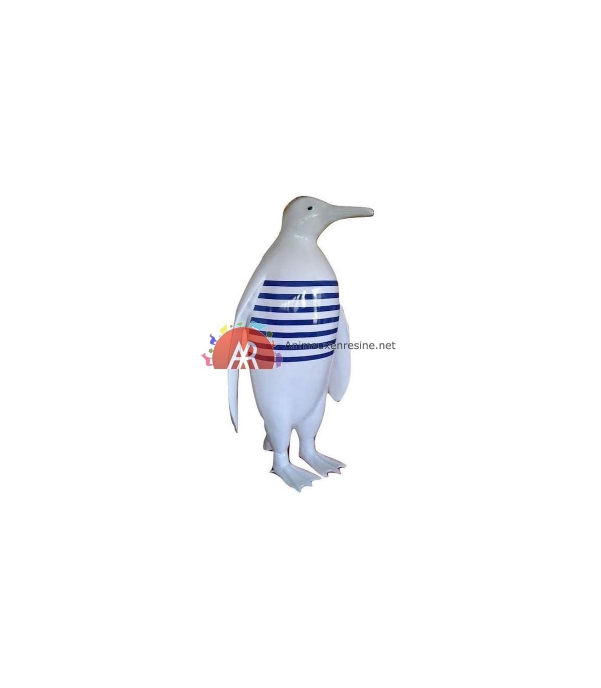 Statue Design Grande Taille Pingouin En Résine Marinière pour Nain De Jardin Fuck