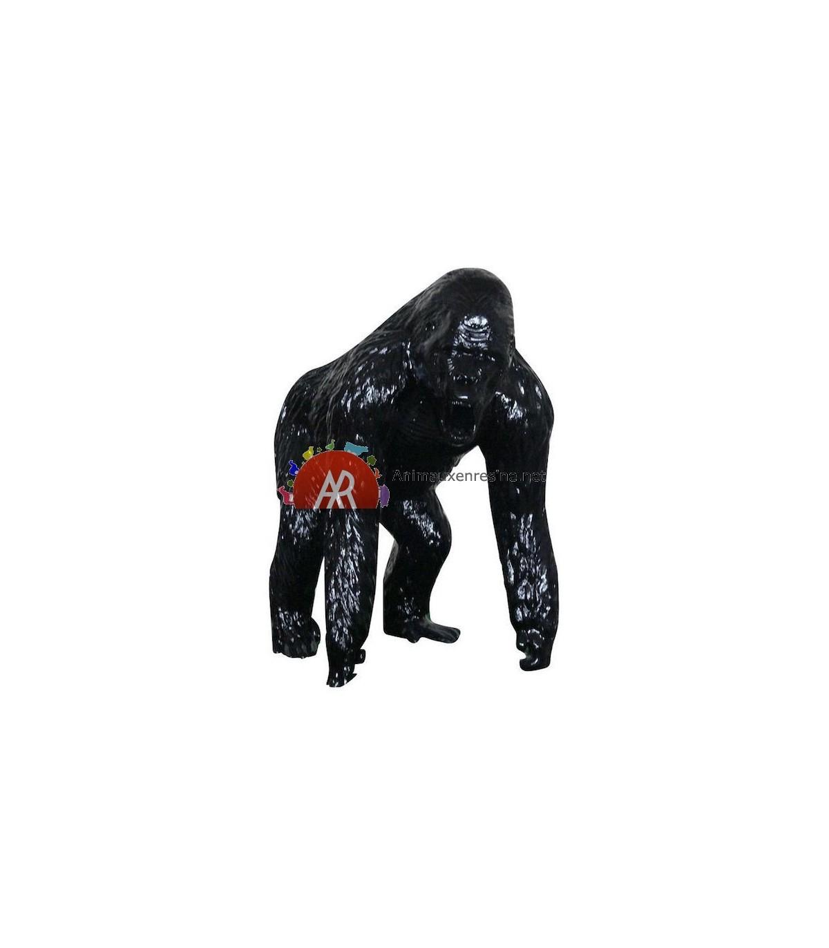 Statue Gorille Geant Debout En Résine Monochrome à Nain De Jardin Fuck
