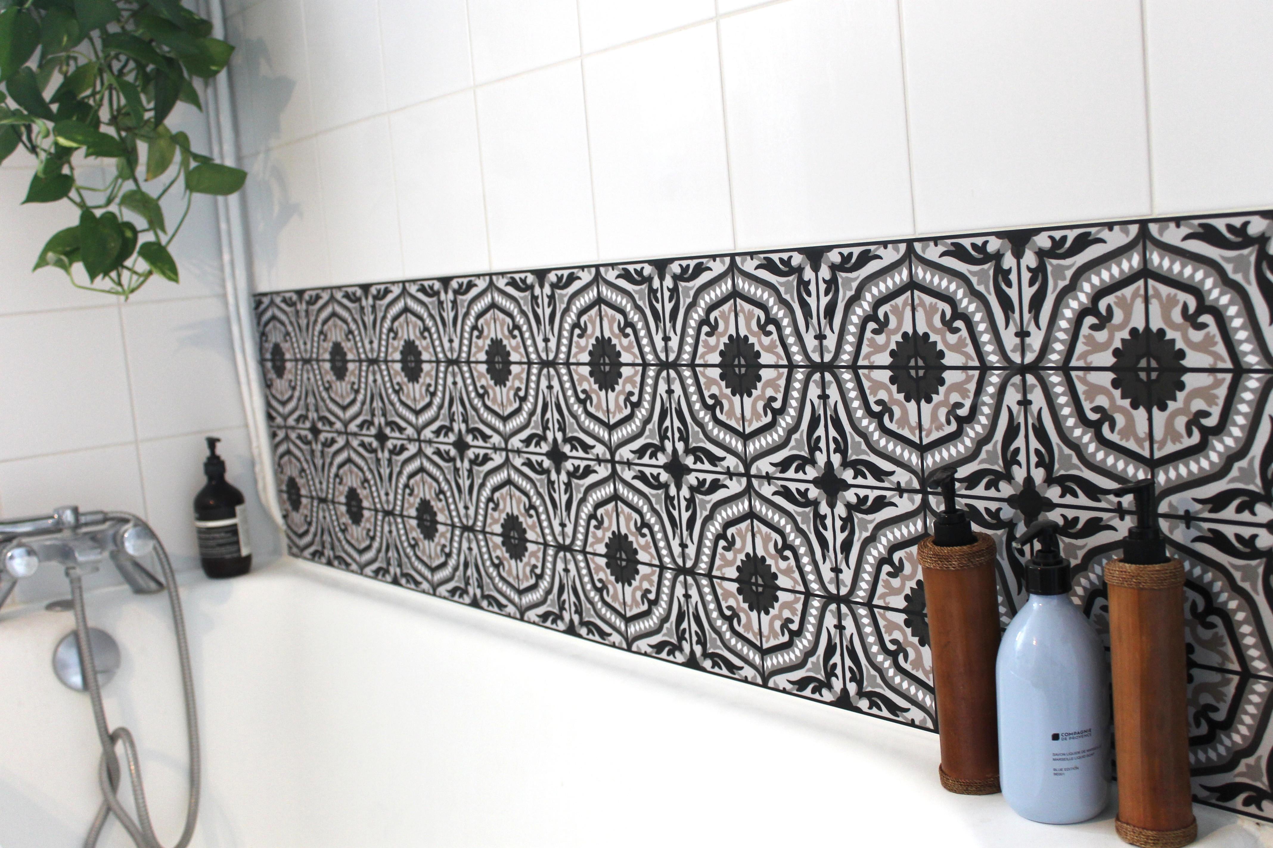 Stickers Carreaux De Ciment : Idée Déco, Inspiration Ce intérieur Stickers Salle De Bain Castorama