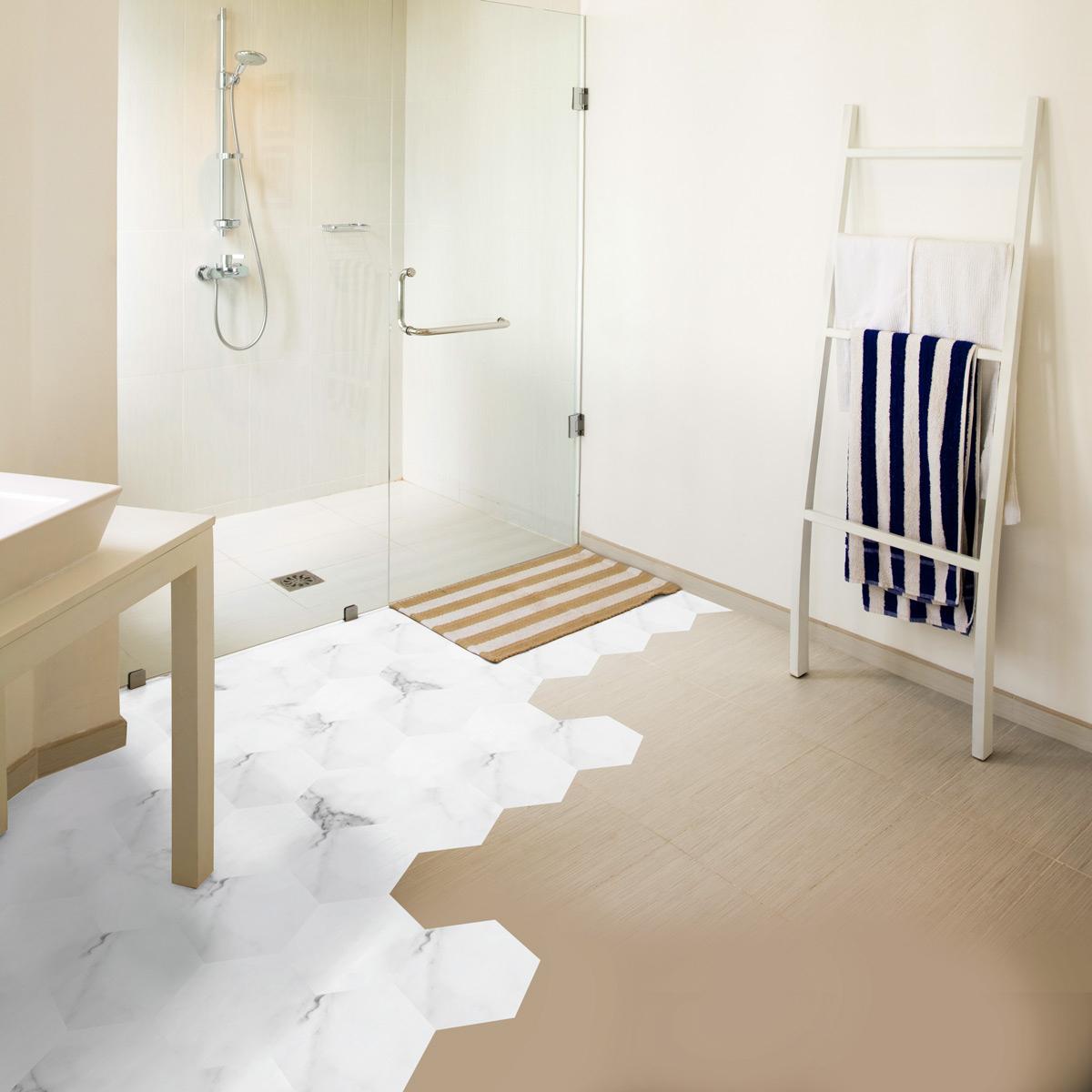 Stickers Tomettes Sol Marbre Blanc Anti-Dérapant concernant Stickers Sol Salle De Bain