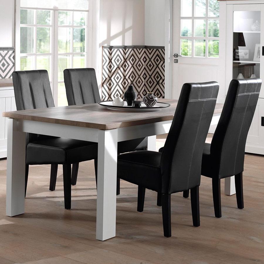 Table 160 Cm Blanche Et Couleur Bois Clair Contemporaine Ethan pour Table Salle À Manger Design Pas Cher