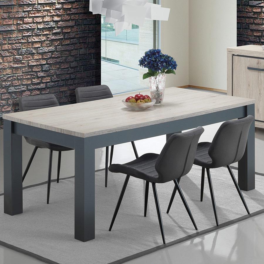 Table 170 Cm Pas Chere Couleur Chêne Naturel Et Gris Eleonore destiné Table Salle À Manger Design Pas Cher
