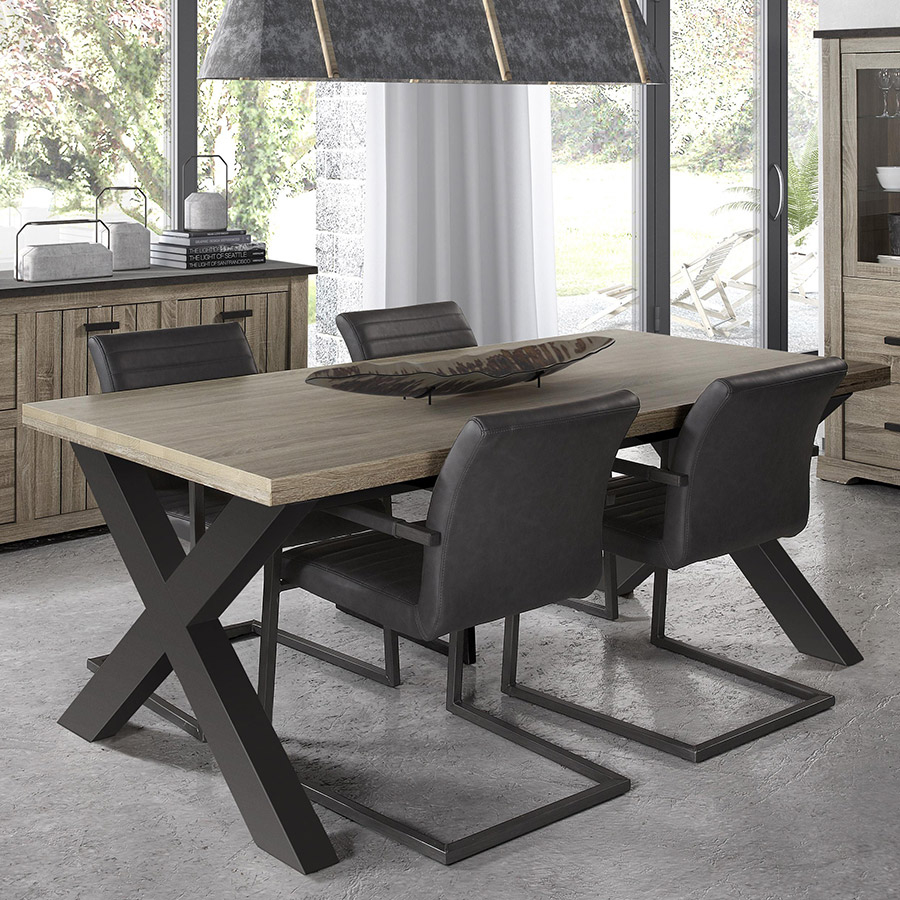 Table 220 Cm Contemporaine Couleur Bois Et Anthracite Lewis dedans Table Salle À Manger Design Pas Cher