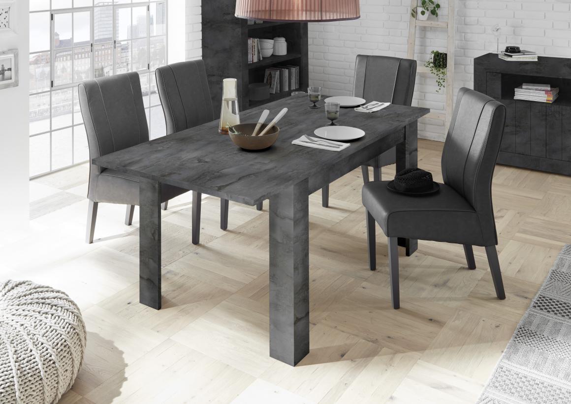 Table À Manger 140 Cm Gris Anthracite + Rallonge 50 Cm Urban intérieur Table Salle À Manger Design Pas Cher