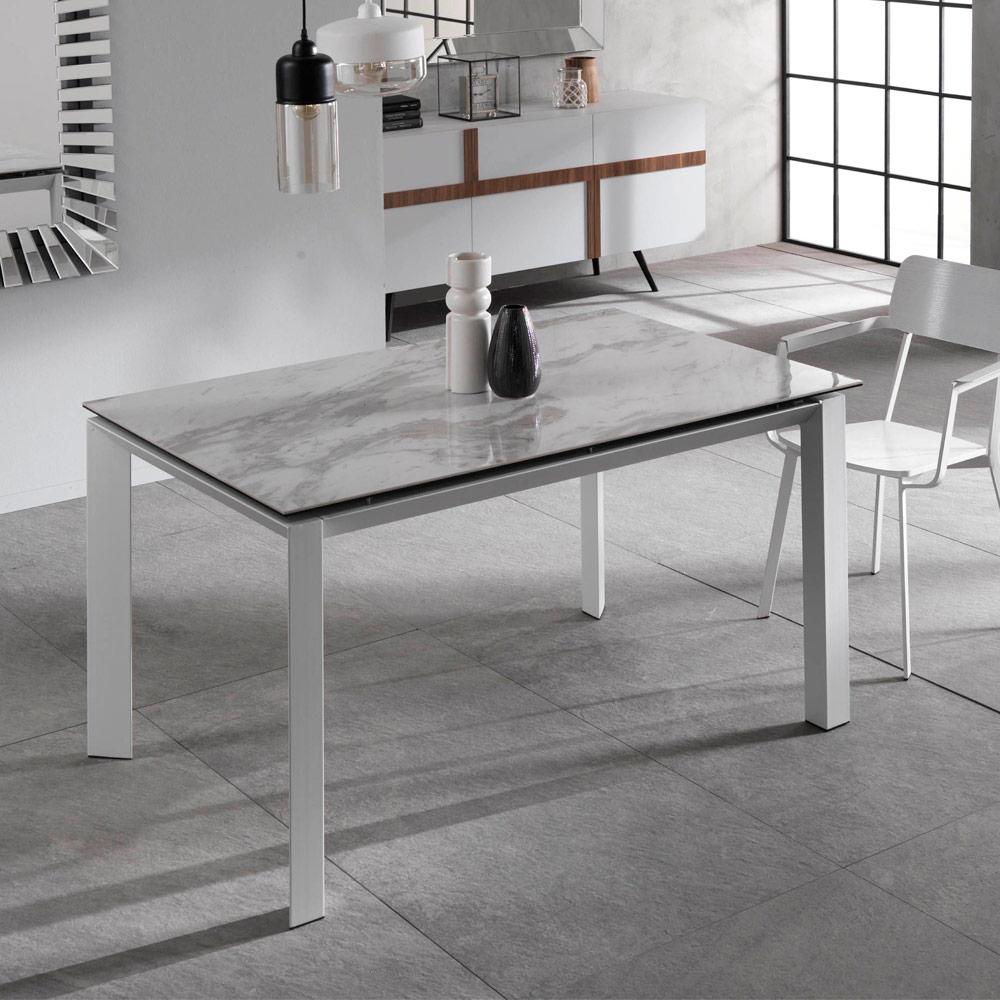 Table À Manger Extensible Avec Plan En Céramique Et Marbre Effet Nosate concernant Table Salle A Manger Plateau Ceramique