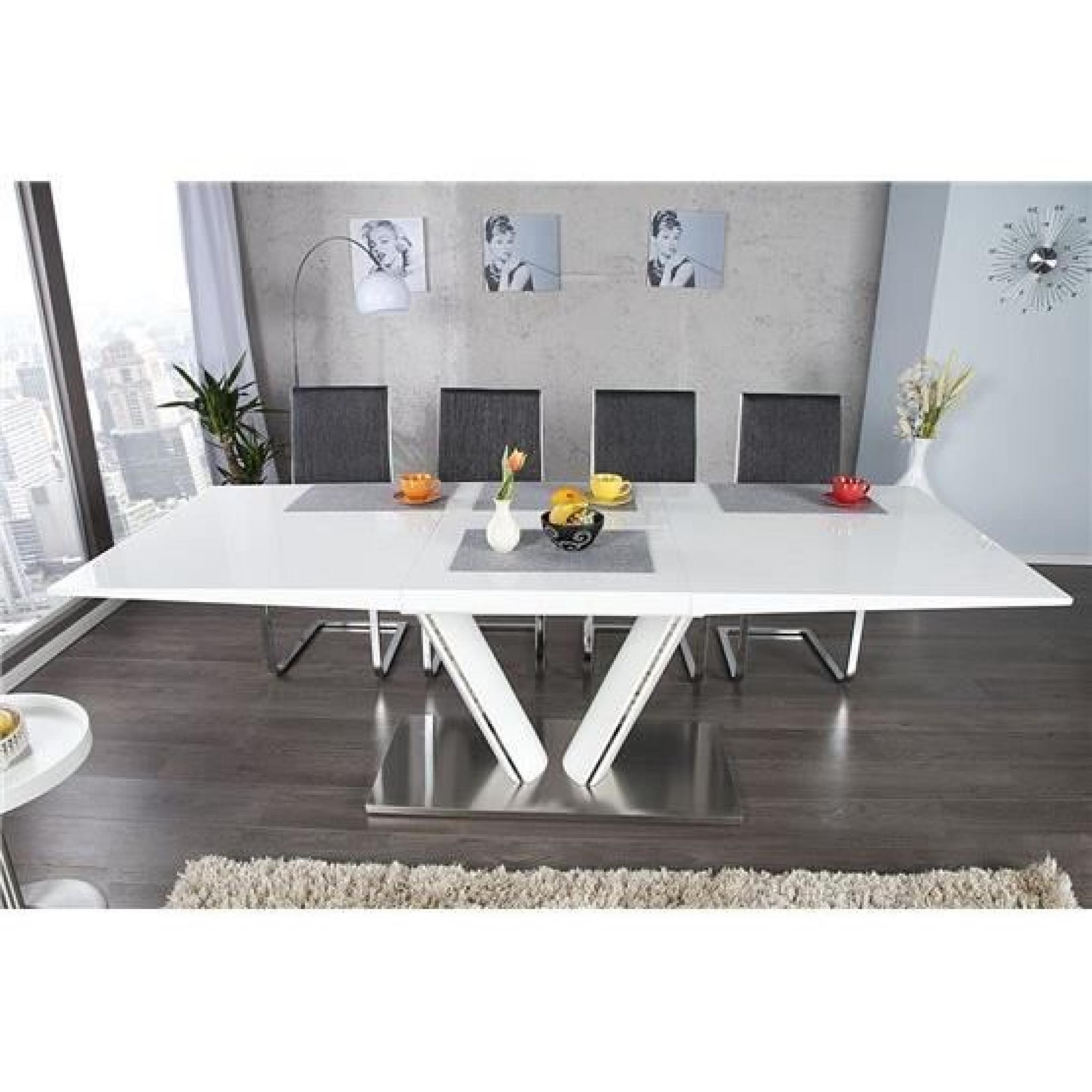 Table À Manger Extensible Lencia Blanc dedans Table Salle À Manger Design Pas Cher