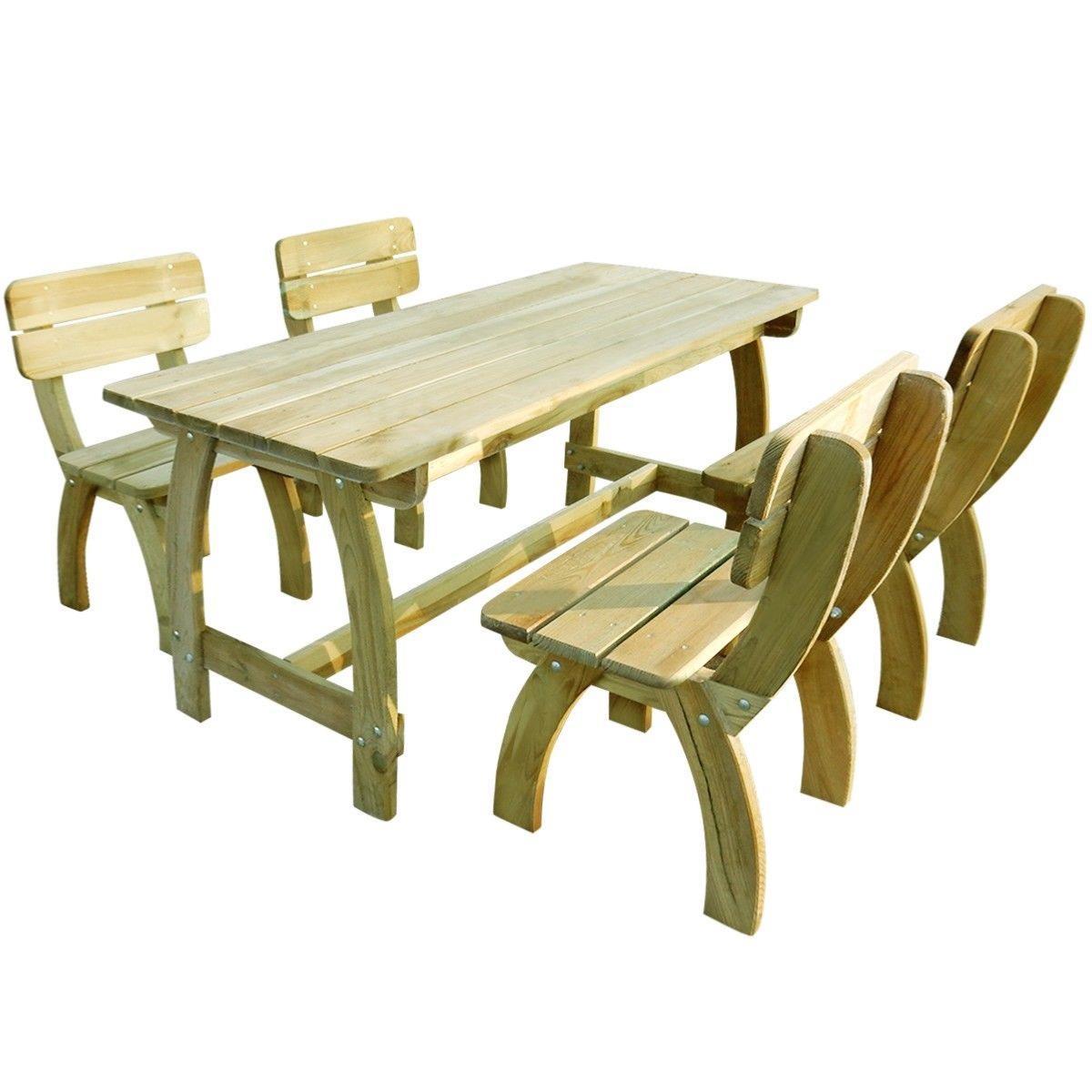 Table Avec 4 Chaises, Type Pique-Nique En Bois Massif à Table De Jardin En Bois Avec Chaises