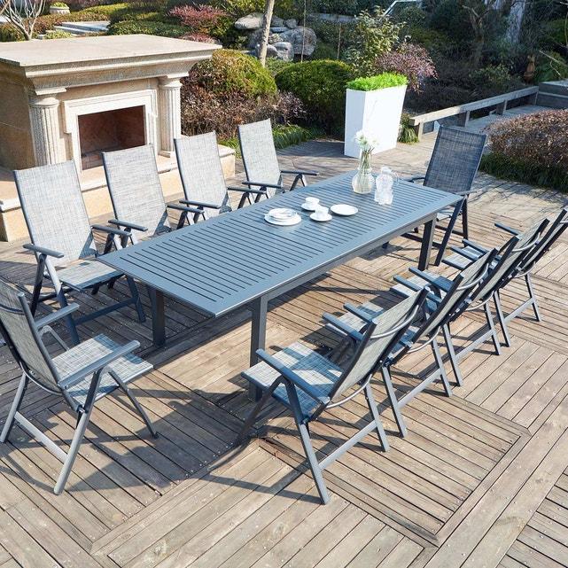 Table + Chaise De Jardin Aluminium Extensible 10 Places pour Table De Jardin Aluminium Jardiland