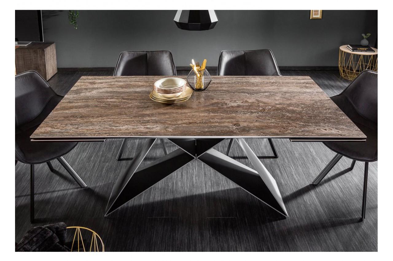 Table Contemporaine En Céramique - Pied Métal Noir Design encequiconcerne Table Salle A Manger Plateau Ceramique