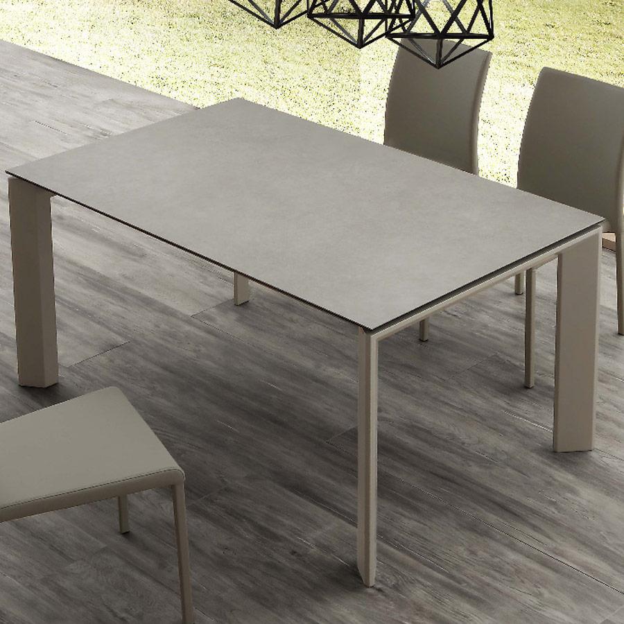 Table De 4 À 10 Personnes En Céramique Effet Béton Eva pour Table Salle A Manger Plateau Ceramique
