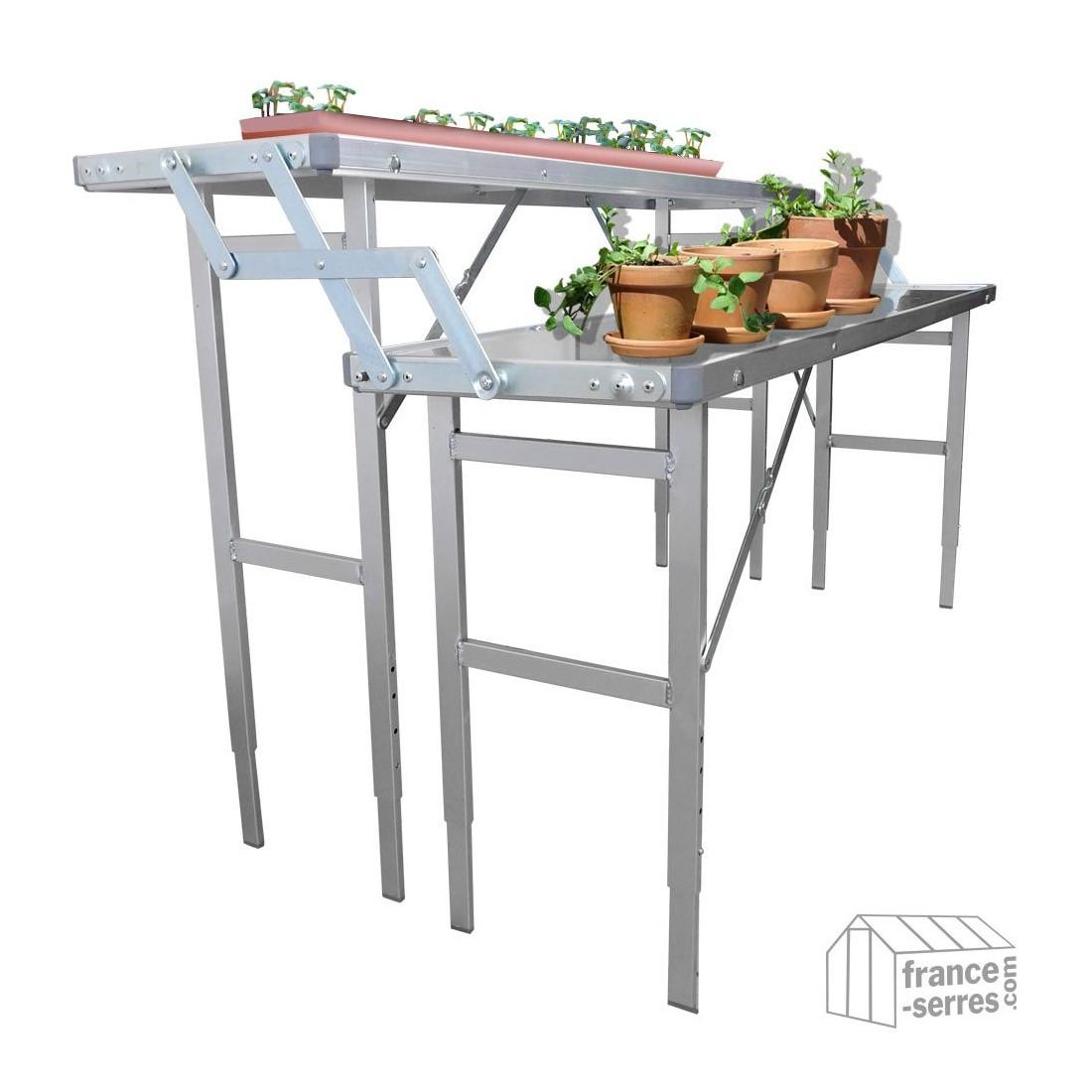 Table De Culture Pliante En Aluminium Pour Serre De Jardin avec Etagere De Jardin