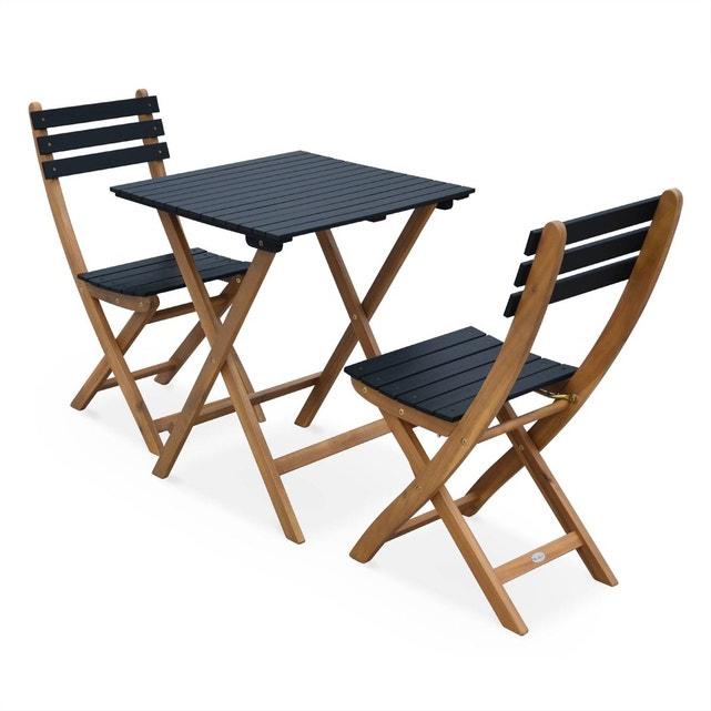 Table De Jardin 60X60Cm - Barcelona Bois / Noir - Table encequiconcerne Table De Jardin En Bois Avec Chaises
