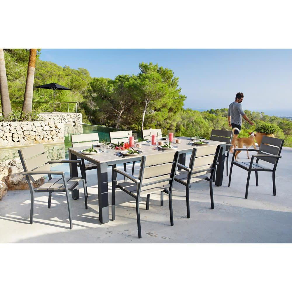 Table De Jardin 8/10 Personnes En Aluminium Gris pour Table Jardin 10 Personnes