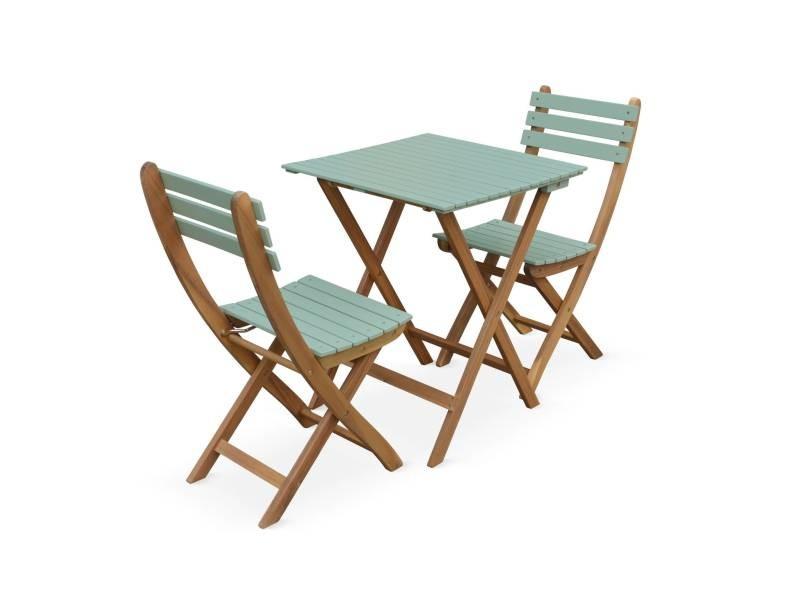 Table De Jardin Bistrot 60X60Cm - Barcelona Bois / Vert De pour Table De Jardin En Bois Avec Chaises