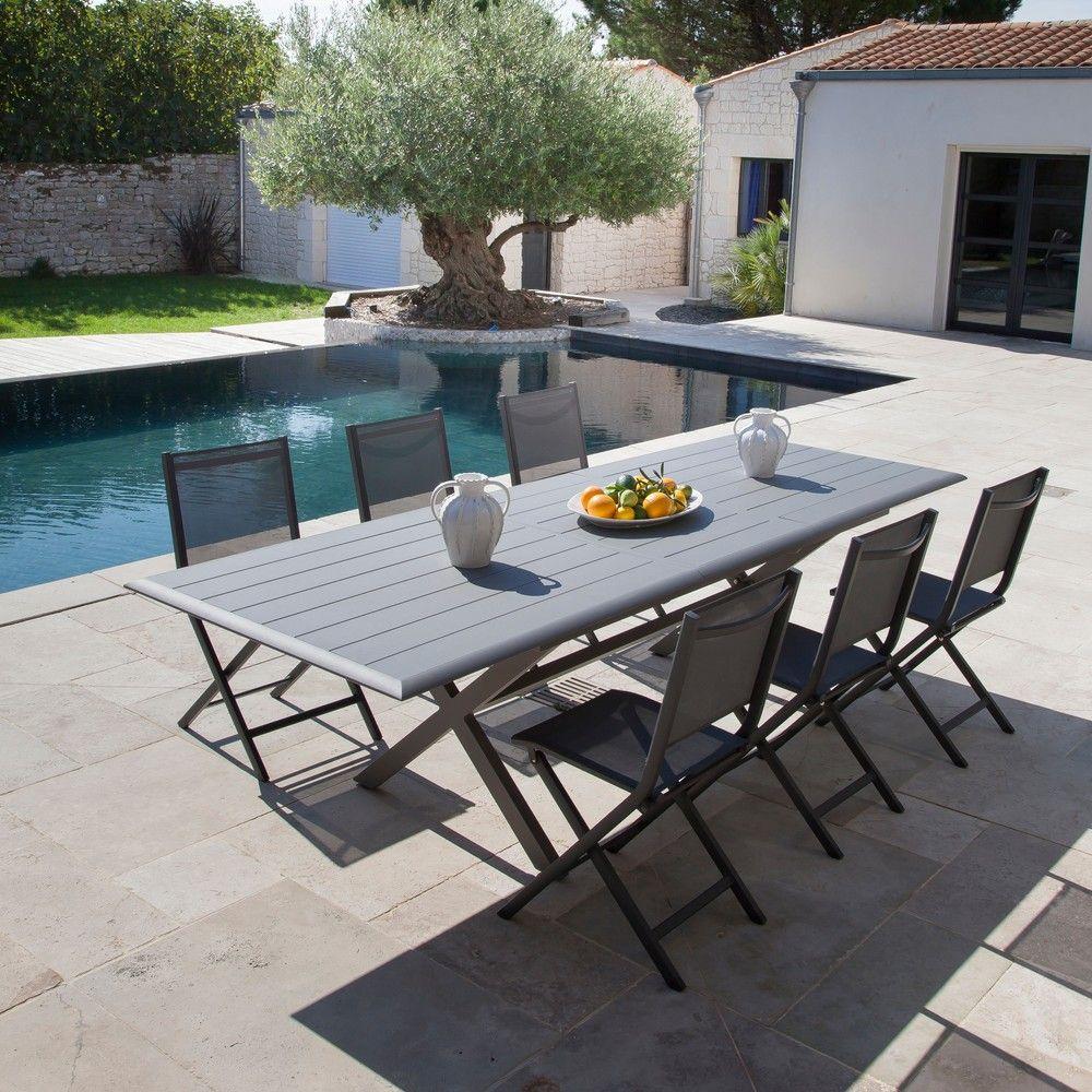 Table De Jardin Bridge L220/280 L100 Cm Aluminium Gris serapportantà Kettler Table De Jardin