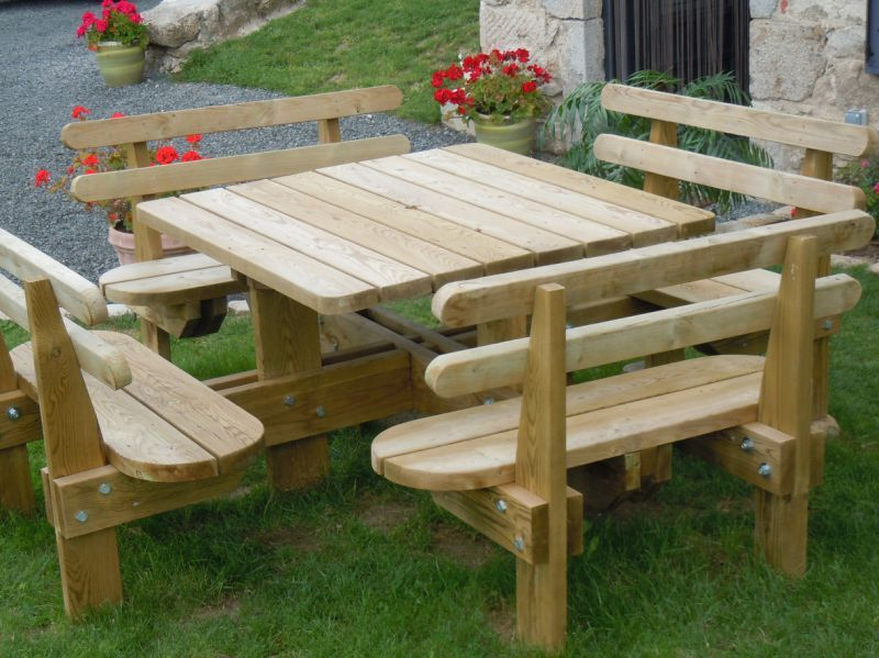 Table De Jardin En Bois Avec Banc Integre (Avec Images encequiconcerne Banc En Palette Dossier Incliné