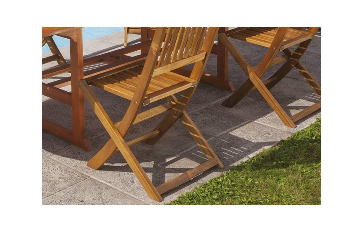 Table De Jardin En Bois Avec Rallonge Et 6 Chaises Pliantes à Table De Jardin En Bois Avec Chaises