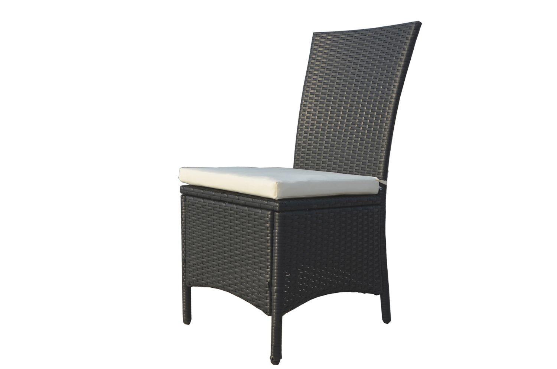 Table De Jardin En Résine Tressée 8 Places Noir/Blanc encequiconcerne Table Et Chaise De Jardin En Resine