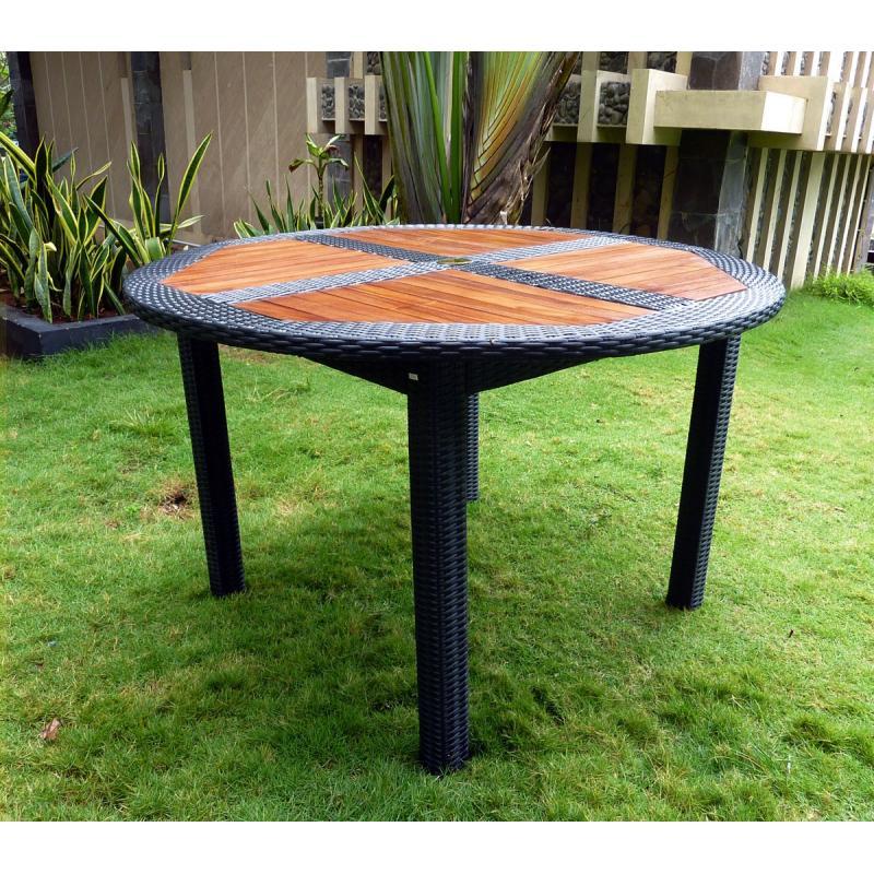 Table De Jardin En Teck En Résine Tressée Ronde Pliante tout Table Et Chaise De Jardin En Resine