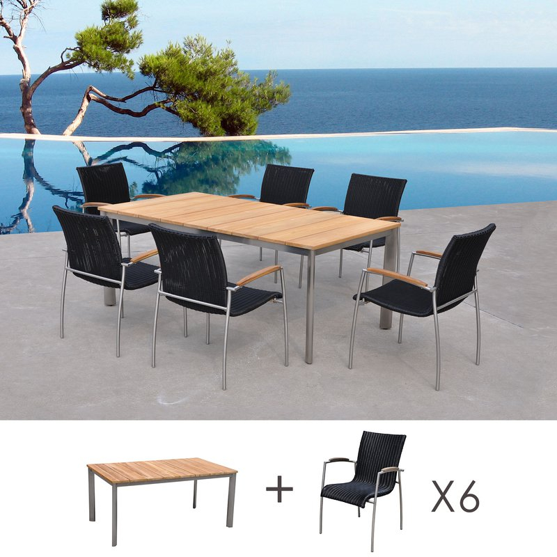 Table De Jardin En Teck + Lot De 6 Chaises En Résine intérieur Table Et Chaise De Jardin En Resine