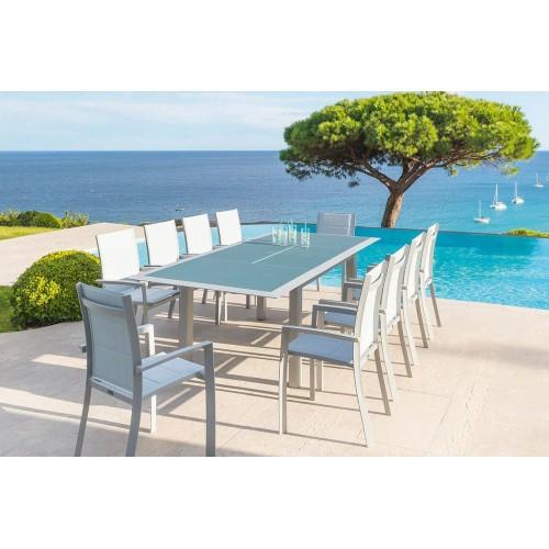 Table De Jardin Extensible Allure Plateau Verre 10 Places destiné Table De Jardin 10 Personnes