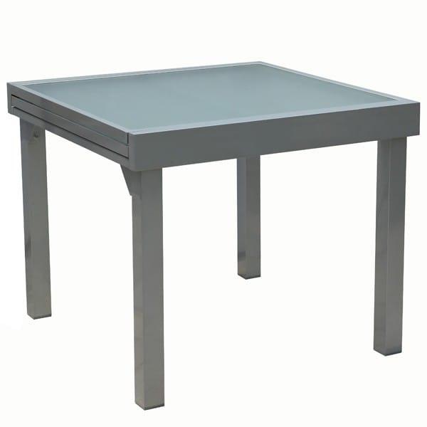 Table De Jardin Extensible Aluminium Et Verre 90/180 X 90 intérieur Table Jardin 4 Personnes